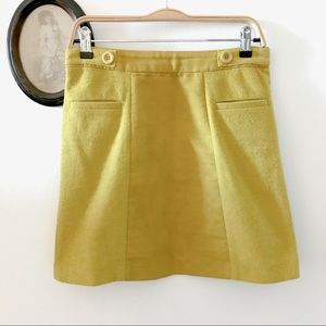 On Trend Vegan Suede Mustard Mini Skirt